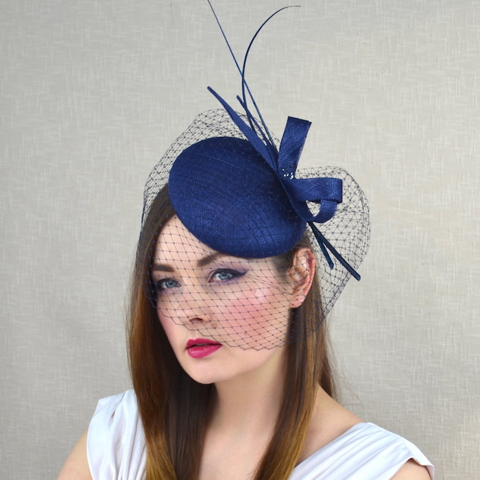 ISOLDE – Navy Blue Pillbox Hat with Birdcage Veil and Quills ... 83020bd0b69