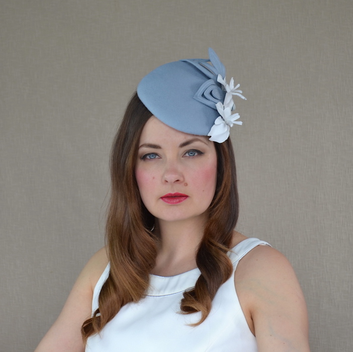 94f34f572831d CHARLOTTE – Baby Blue Felt Pillbox Hat with Leather Orchids – RUBINA ...