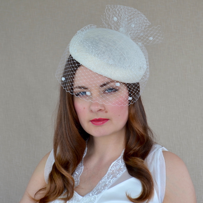 6167116f7b5c3 DARLA – Ivory Sinamay Straw Pillbox Hat with Birdcage Veil – RUBINA ...