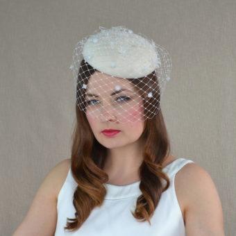 f06d934f5 ESME – White Felt Pillbox Cocktail Hat with Veil