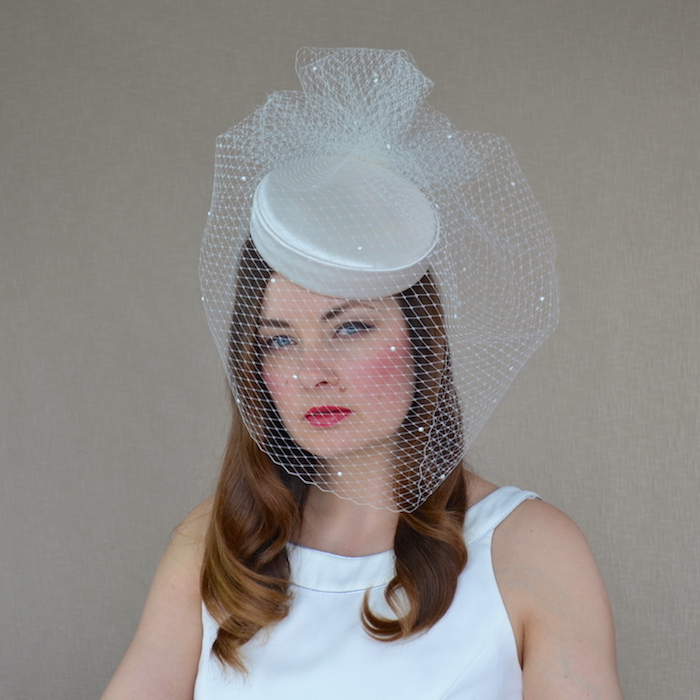 fab428c86 FREYA – Duchess Silk Bridal Pillbox Hat with Long Birdcage Veil ...