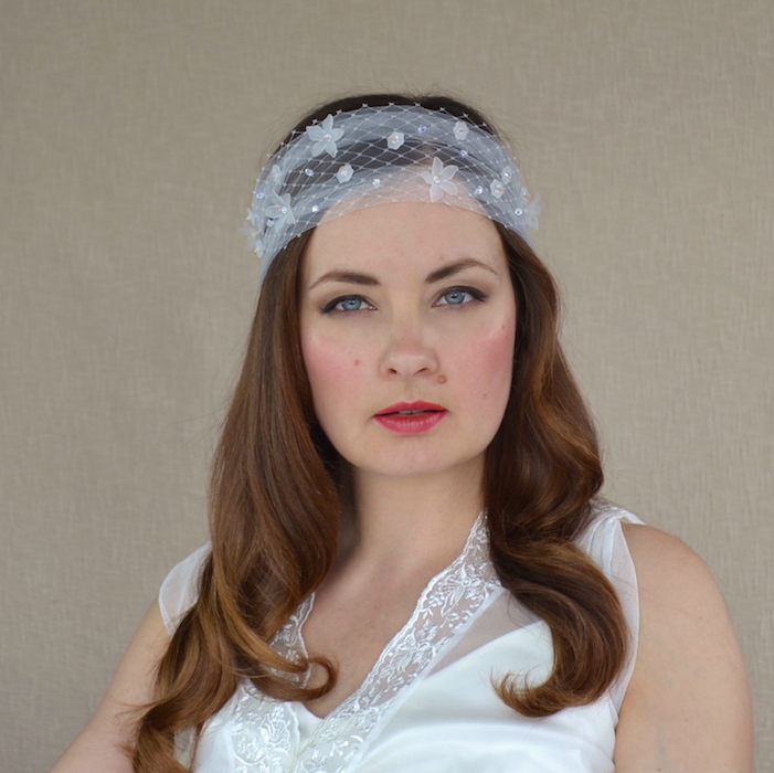 be94c42fa MARGARET – Bridal Veil Headband with Tulle and Birdcage Veil ...