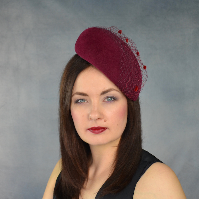 6518935961e AMBROSIA – Burgundy Pillbox Hat with Birdcage Veil – RUBINA Millinery