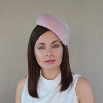 4161b694 AMBROSIA – Pale Pink Velour Felt Pillbox Hat with Birdcage Veil