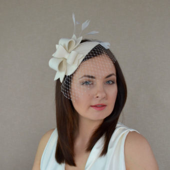 0a9ef109 AYA – Off White Felt Fascinator with Bows and Birdcage Veil