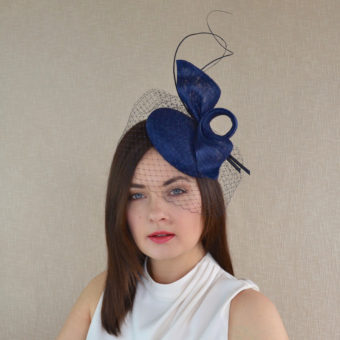 984aa38639d63 LILO – Navy Blue Sinamay Straw Pillbox Hat with Birdcage Veil