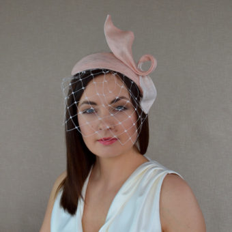 7e76fccb LOLA – Peach and Ivory Sinamay Straw Fascinator with Birdcage Veil
