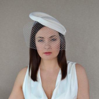 4c77b3a5 STELLA – Ivory Felt Percher Hat with Removable veil